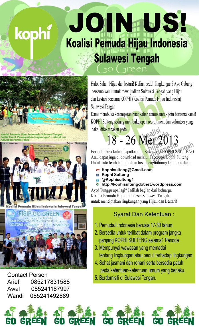 Open Recruitment dan Volunteer KOPHI Sulteng 2013